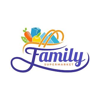 Logo van de supermarkt met boodschappen