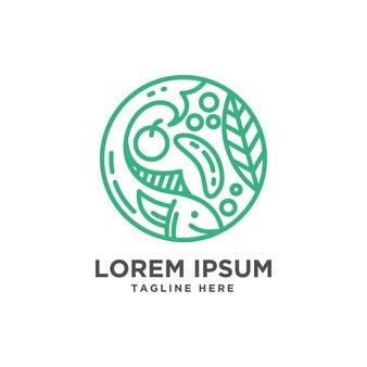 Logo van de supermarktmarkt en zeevruchten