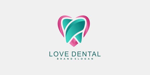 Logo van de tandheelkundige kliniek met unieke kleurstijl, schone, moderne stijl premium vector