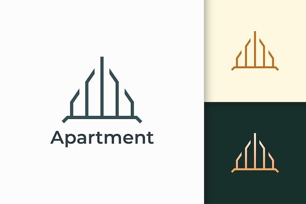 Logo van een gebouw of appartement in eenvoudige lijnvorm voor onroerend goed en hypotheek