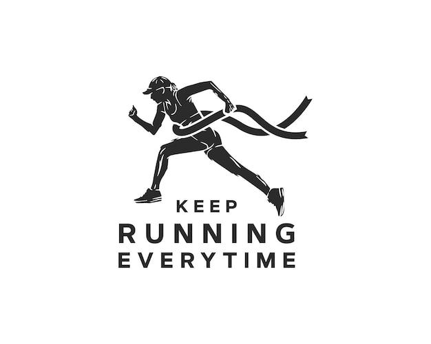 Logo van een hardloopclub. logo-ontwerp voor marathonevenement