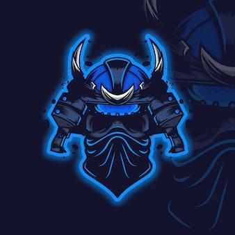 Logo van een samoeraischedel die een masker draagt
