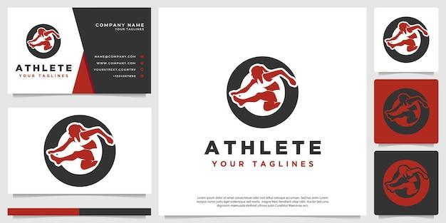 Logo van een vrouwelijke atleet met een negatieve ruimtestijl