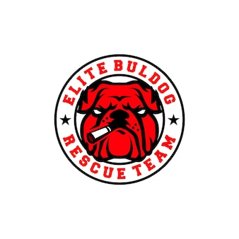Logo van elite bulldog met rook- of sigarettenrood bulldog-reddingsteam