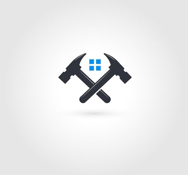 Logo van gekruiste hamers. huisreparaties embleem. gereedschap voor het repareren en repareren. vensterinstallatie, onderhoudsdienst.