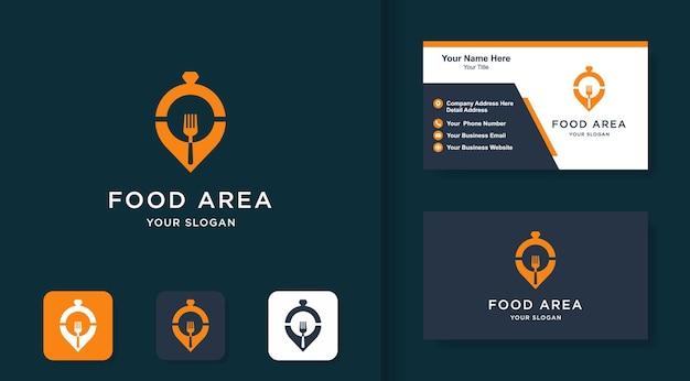 Logo van het voedselgebied, locatiepin, vork, dienblad en visitekaartje
