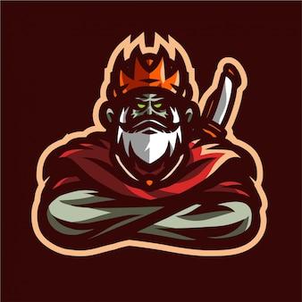 Logo van koning zwaard mascotte gaming