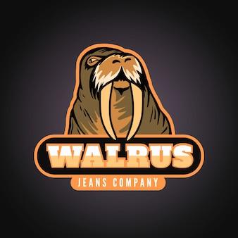 Logo van mascotte met walrus