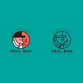 Logo van oude man gebruik een hoed