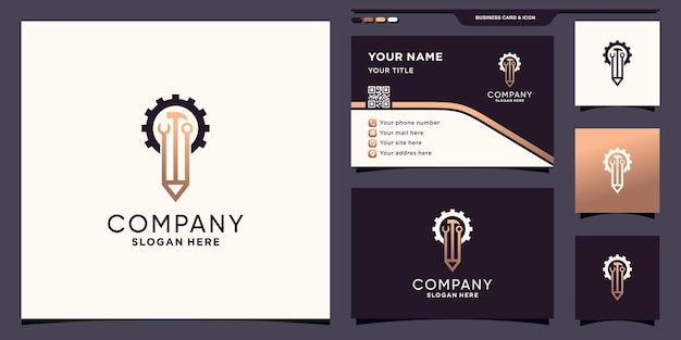 Logo van potlood en mechanisch gereedschap met uniek modern concept en visitekaartjeontwerp premium vector