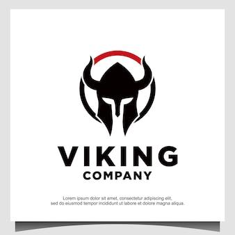 Logo van viking ancient warrior-helm