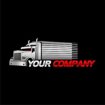 Logo van vrachtwagen en oplegger met zwarte achtergrond