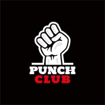 Logo van vuist punch in vintage design