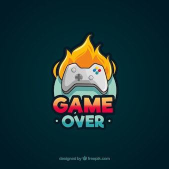 Logo videogamesjabloon met joystick