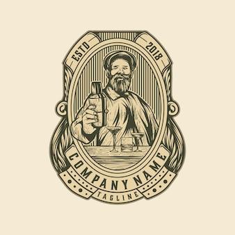 Logo vintage bier oude sjabloon