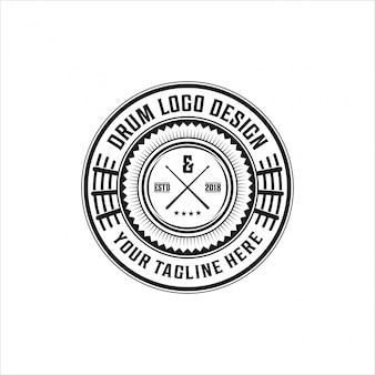 Logo vintage muziek, drum