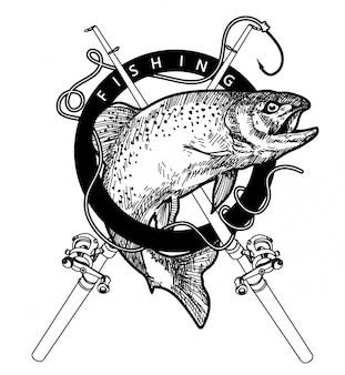 Logo visserijhandtekening en schets zwart-wit met geïsoleerde illustratie van de lijnkunst