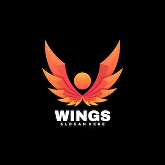 Logo vleugels kleurovergang kleurrijke stijl
