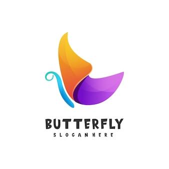 Logo vlinder kleurovergang kleurrijke stijl Premium Vector