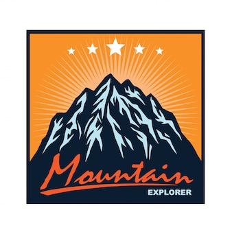 Logo voor bergavontuur camping klimmende sjabloon