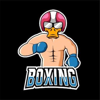 Logo voor bokssport en esport gaming-mascotte
