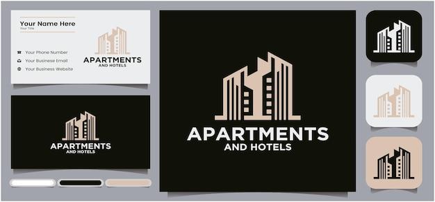 Logo voor de bouw van appartementen en hotels met weergave van visitekaartjes en pictogrammen voor sociale media