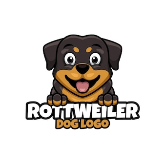 Logo voor dierenwinkel, dierenverzorging of je eigen hond met rottweiler