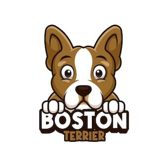 Logo voor dierenwinkel, dierenverzorging of uw eigen hond met boston terrier