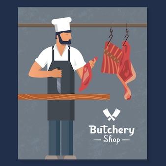 Logo voor een slagerswinkel met een bebaarde slagers op het werk.