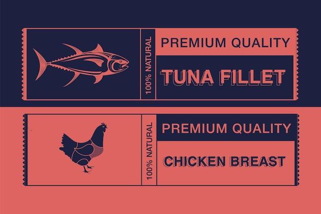 Logo voor etikettering van vlees afbeelding dieren gebruikt voor de voedingsindustrie set omvat kip en tonijn