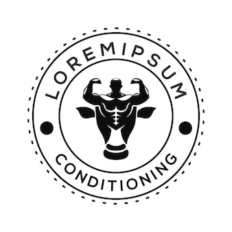 Logo voor het trainen van spieren vector