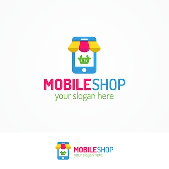 Logo voor mobiele winkel met silhouettelefoon en mand kan worden gebruikt voor mobiele service, smartphonewinkel
