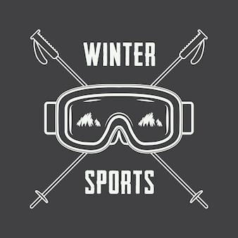 Logo voor ski's of wintersporten