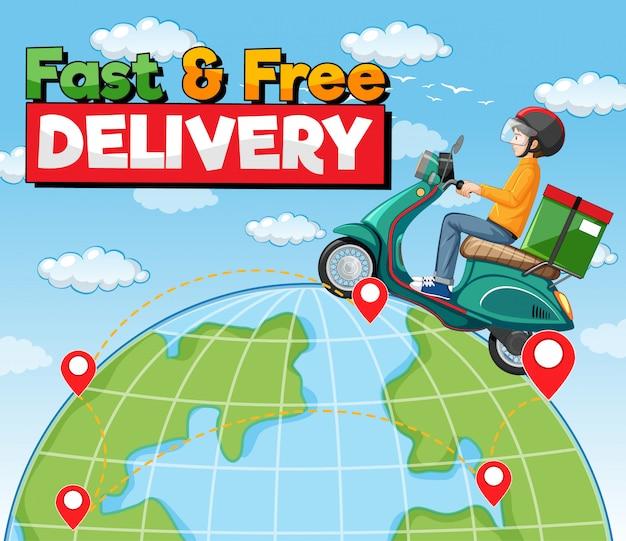 Logo voor snelle en gratis bezorging met fietsman of koerier die op de aarde rijdt