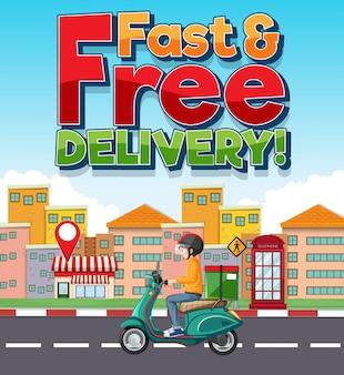 Logo voor snelle en gratis bezorging met fietsman of koerier in de stad