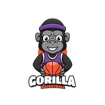 Logo voor sportbasketbal met gorillamascotte