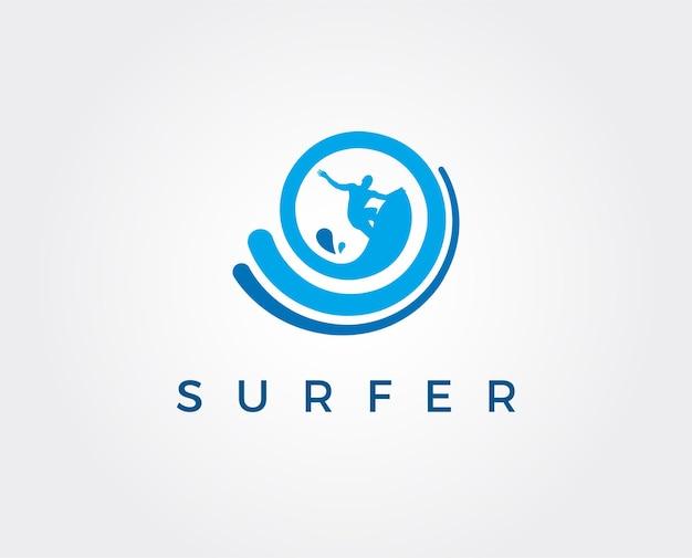 Logo voor surfclub illustratie van een surfer op een golf