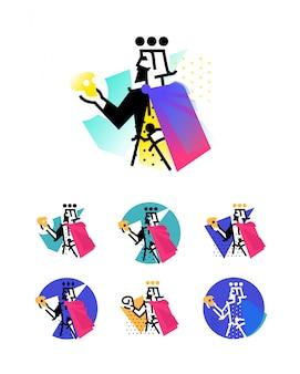 Logo voor theatrale studio. illustratie van een gehucht met een schedel.