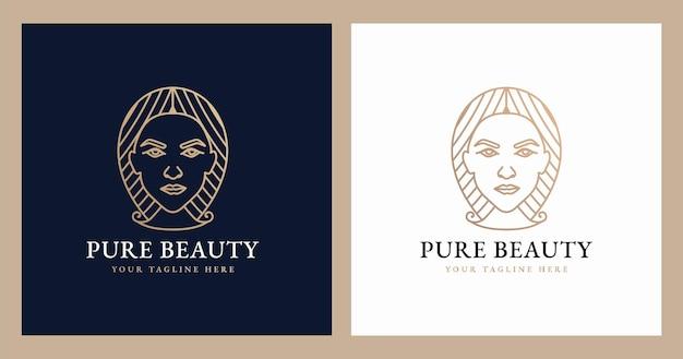 Logo vrouwelijke schoonheid vrouw gezicht minimalistische lijn kunst hand getekende portret voor make-up mode en spa