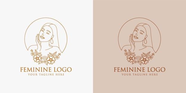 Logo vrouwelijke schoonheid vrouw gezicht minimalistische lijntekeningen hand getekend portret