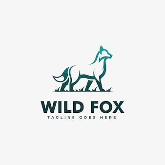 Logo wild fox gradient kleurrijke stijl.