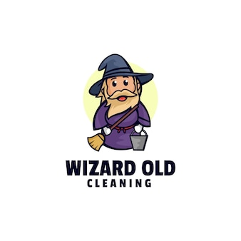 Logo wizard oude mascotte cartoon stijl