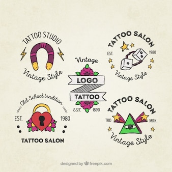 Logos moderne collectie van handgetekende tattoo