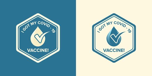 Logosymbool met tekst ik heb mijn covid-19-vaccin voor gevaccineerde personen gekregen. campagnesticker voor coronavirusvaccinatie. medische en gezondheidsconcepten