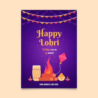 Lohri poster sjabloon plat ontwerp