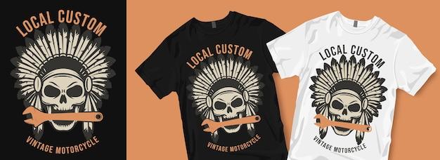 Lokaal aangepaste vintage motorfiets t-shirtontwerp