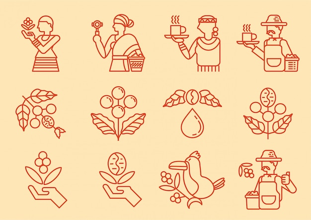 Lokaal koffie landbouwer lijn pictogram met koffie boom