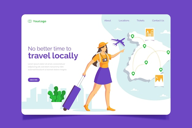 Lokaal toerisme bestemmingspagina sjabloon concept