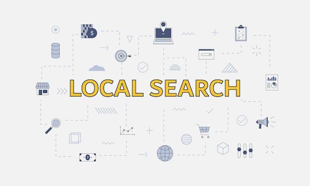 Lokaal zoekconcept met pictogrammenset met groot woord of tekst in het midden