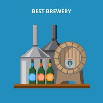 Lokale boerderij bierbrouwerij concept.